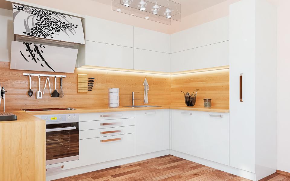 Модерна бяла кухня